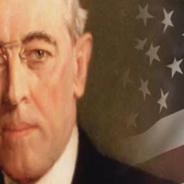 Woodrow Wilson and America flag_13139