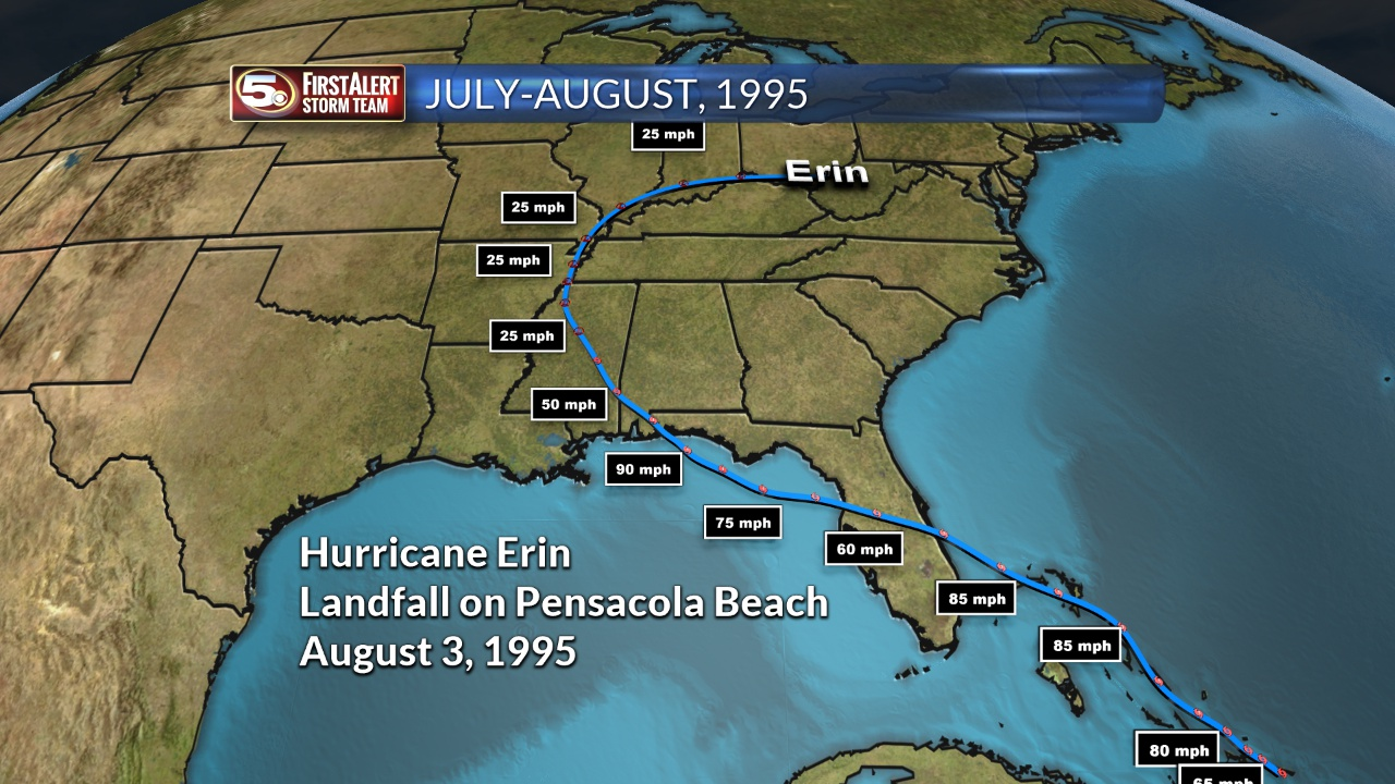 Hurricane Erin Track in 1995_40011