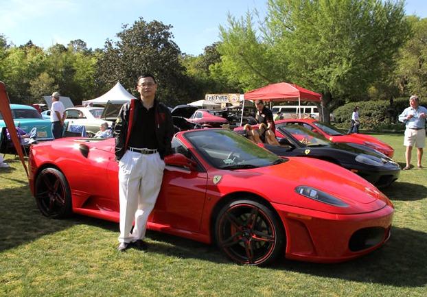Dr. Ruan standing next to a Ferrari.