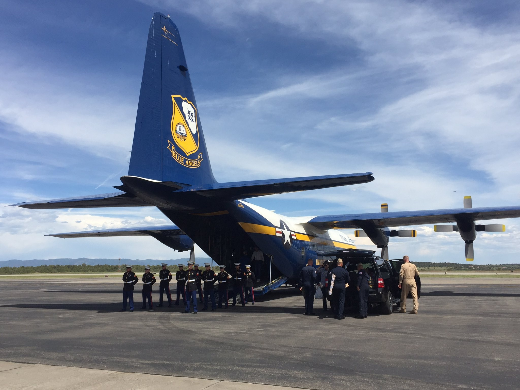 Remains Of Fallen Blue Angel Arrive In Colorado For Funeral