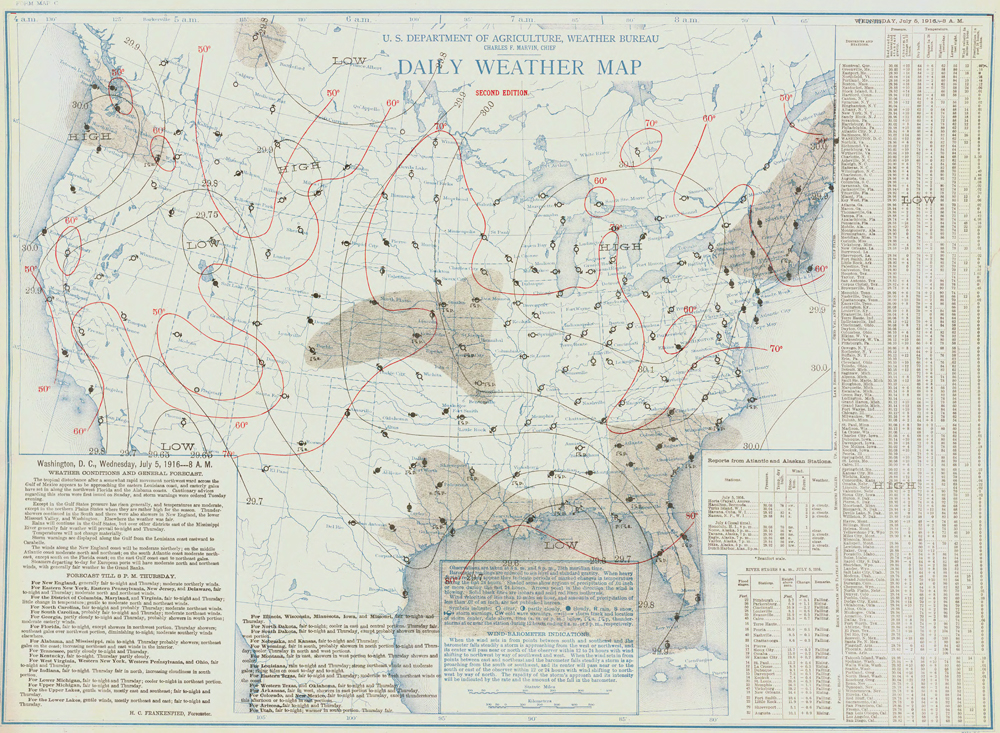 July 5, 1916 Weather Map Showing Hurricane in Gulf