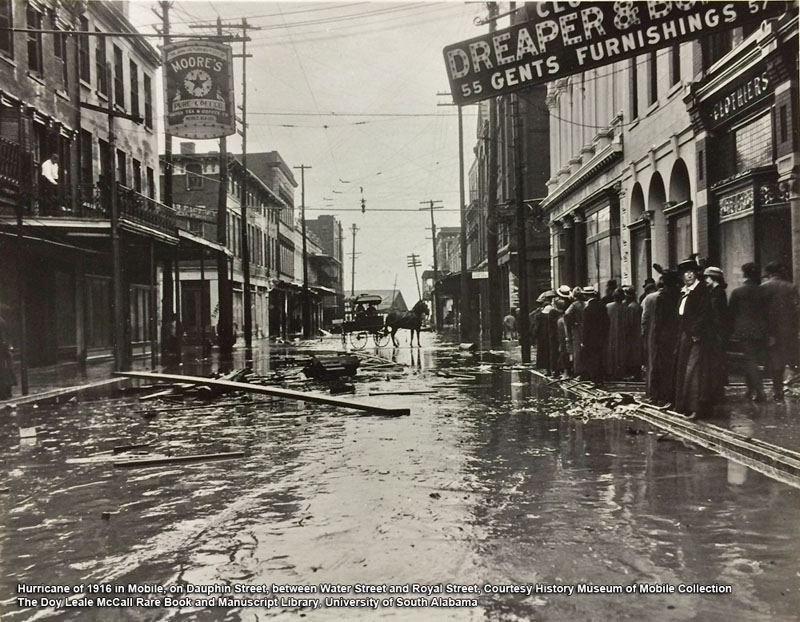 Hurricane of July 5, 1916 in Mobile, on Dauphin Street, between Water Street and Royal Street.