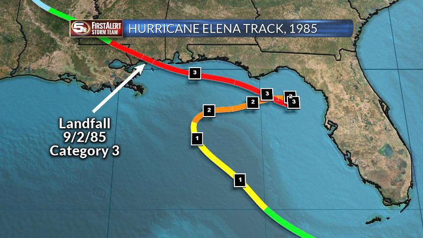 Hurricane Elena Track in 1985