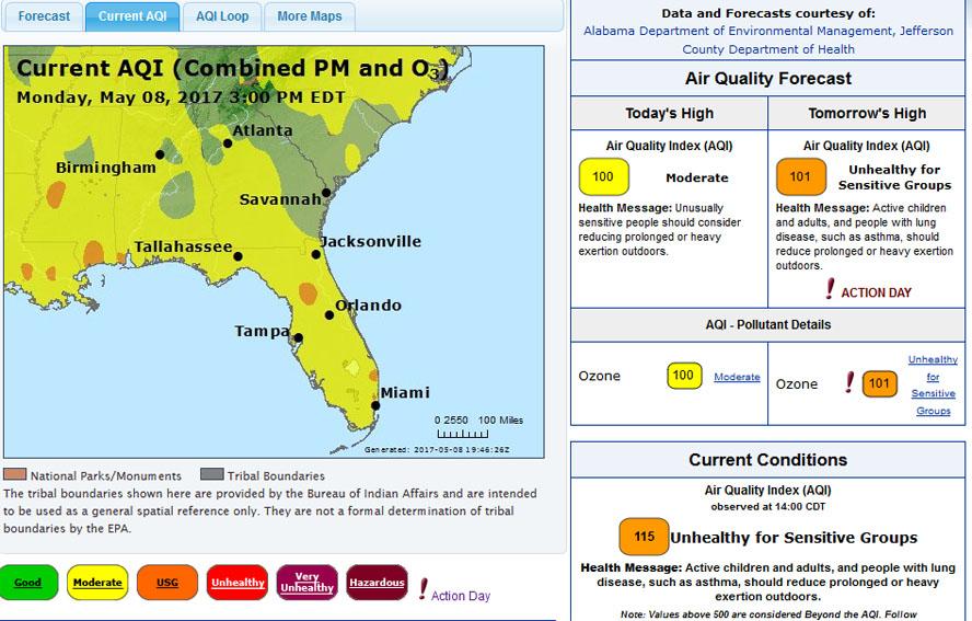 Ozone AQI forecast from ADEM