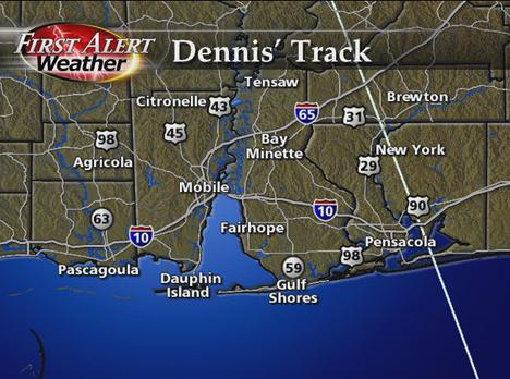 Hurricane Dennis Track 2005