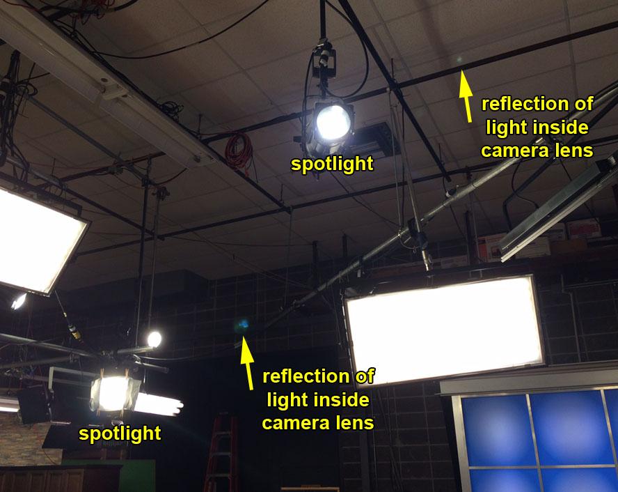 Light Reflections Inside WKRG in Camera Lens
