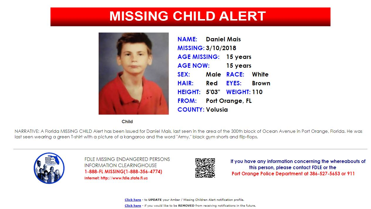 Missing Child Alert Activated For 14 Year Old Florida Boy