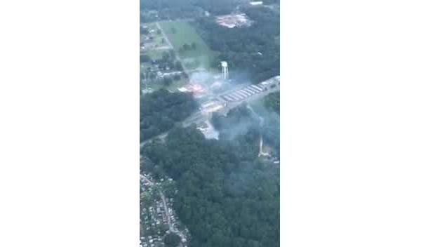Aerial video shows fire outside Valero in Grand Bay
