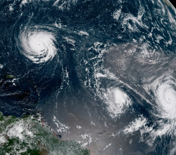 Florence, Isaac, and Helene in the Atlantic