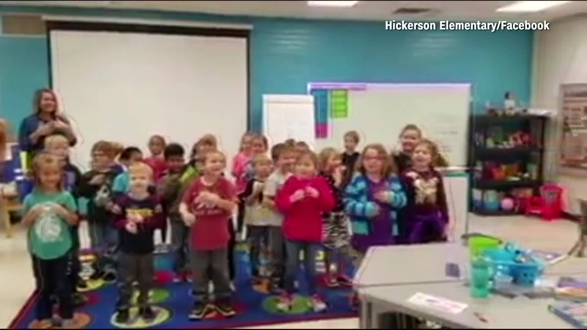Kindergartners sign Happy Birthday to deaf custodian
