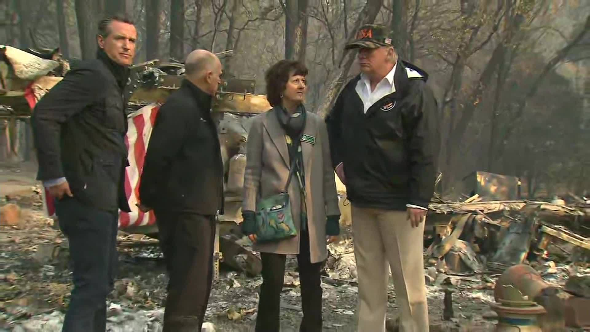 President Trump visits California fire damage site