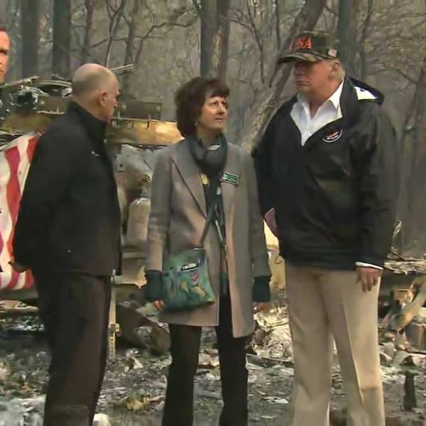 President Trump visits California fire damage site