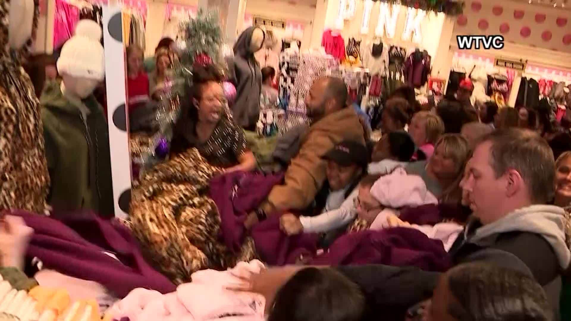 VIDEO: Black Friday chaos: Frantic shoppers attack hoodie display at Victoria's Secret