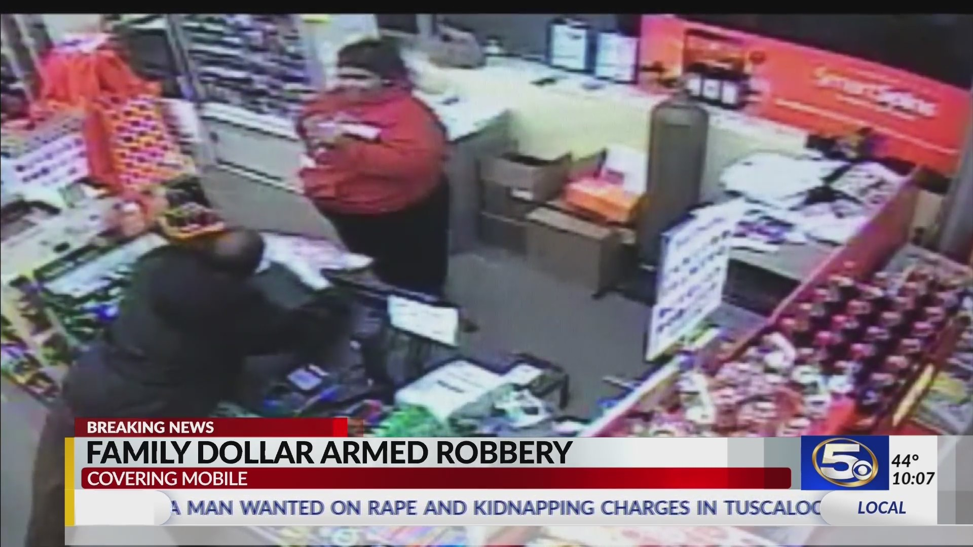 VIDEO: Mobile Police searching for man seen robbing a Family Dollar at gunpoint