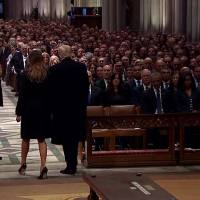 President Trump greets past presidents during GHWB funeral