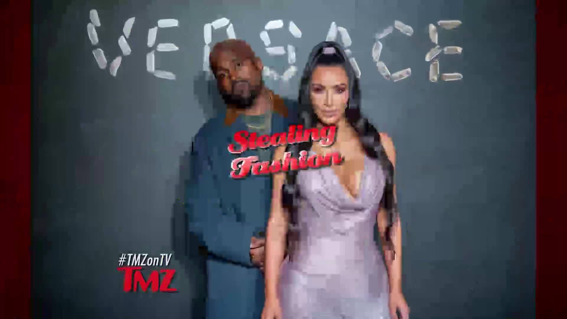 Kanye West finds an earring at the Versace Fashion show and decided to keep it.