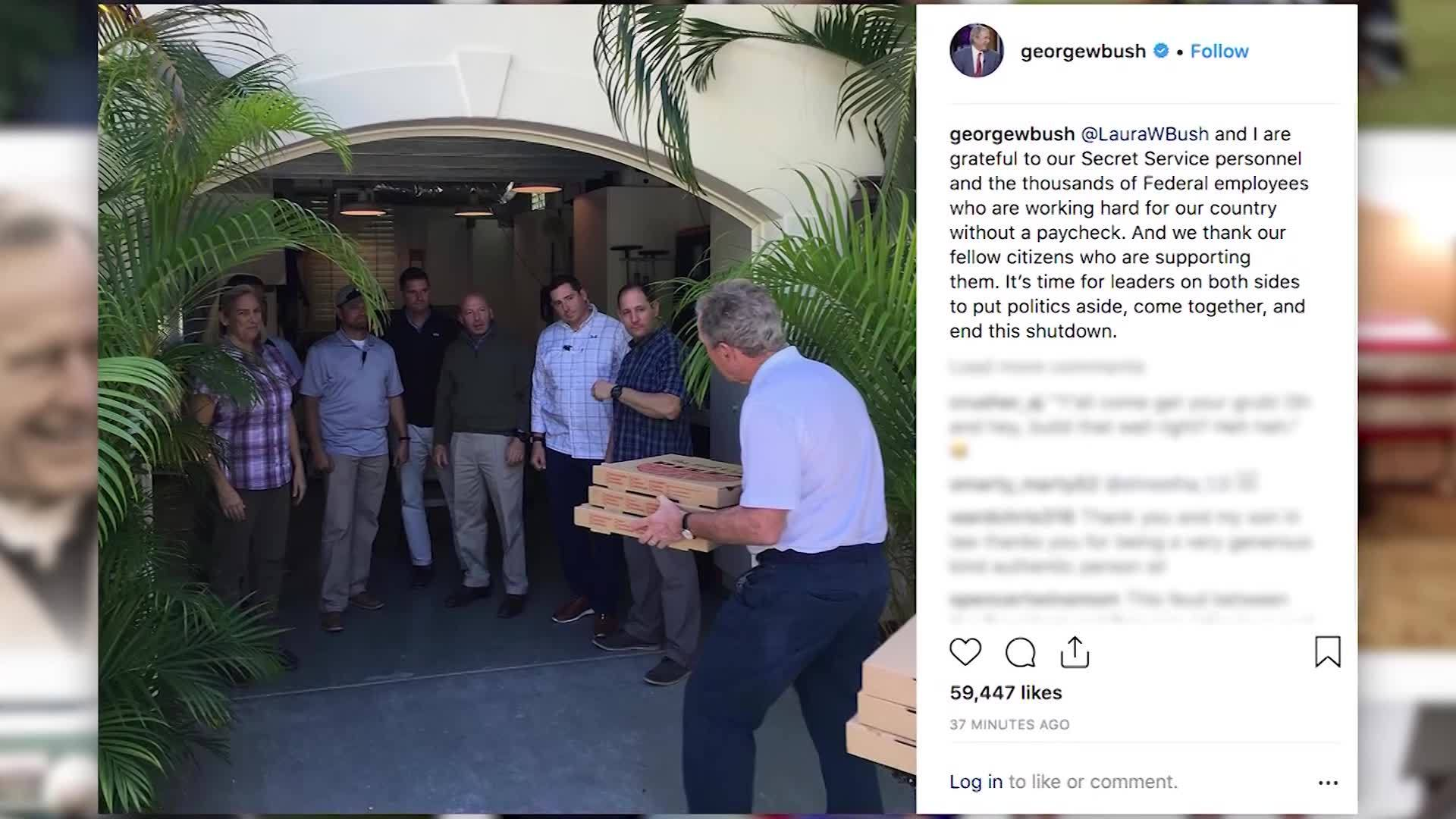 VIDEO: President George W. Bush delivers pizza to his Secret Service agents during shutdown