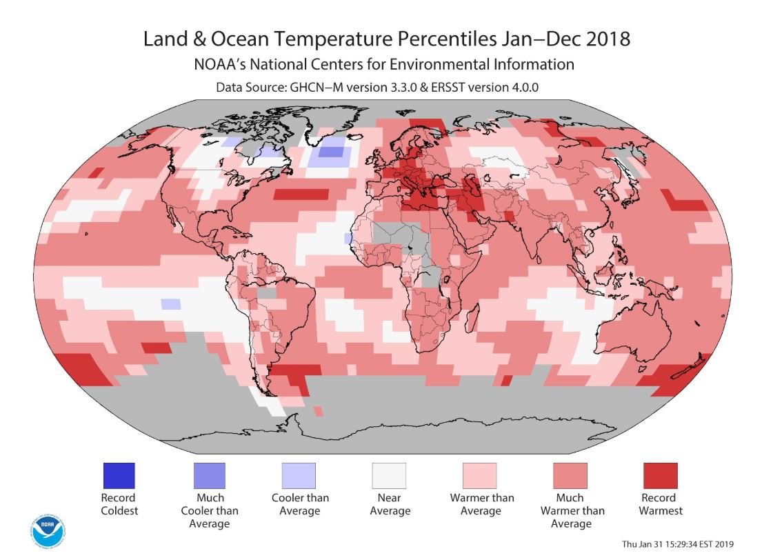 2018 Climate Review via NOAA