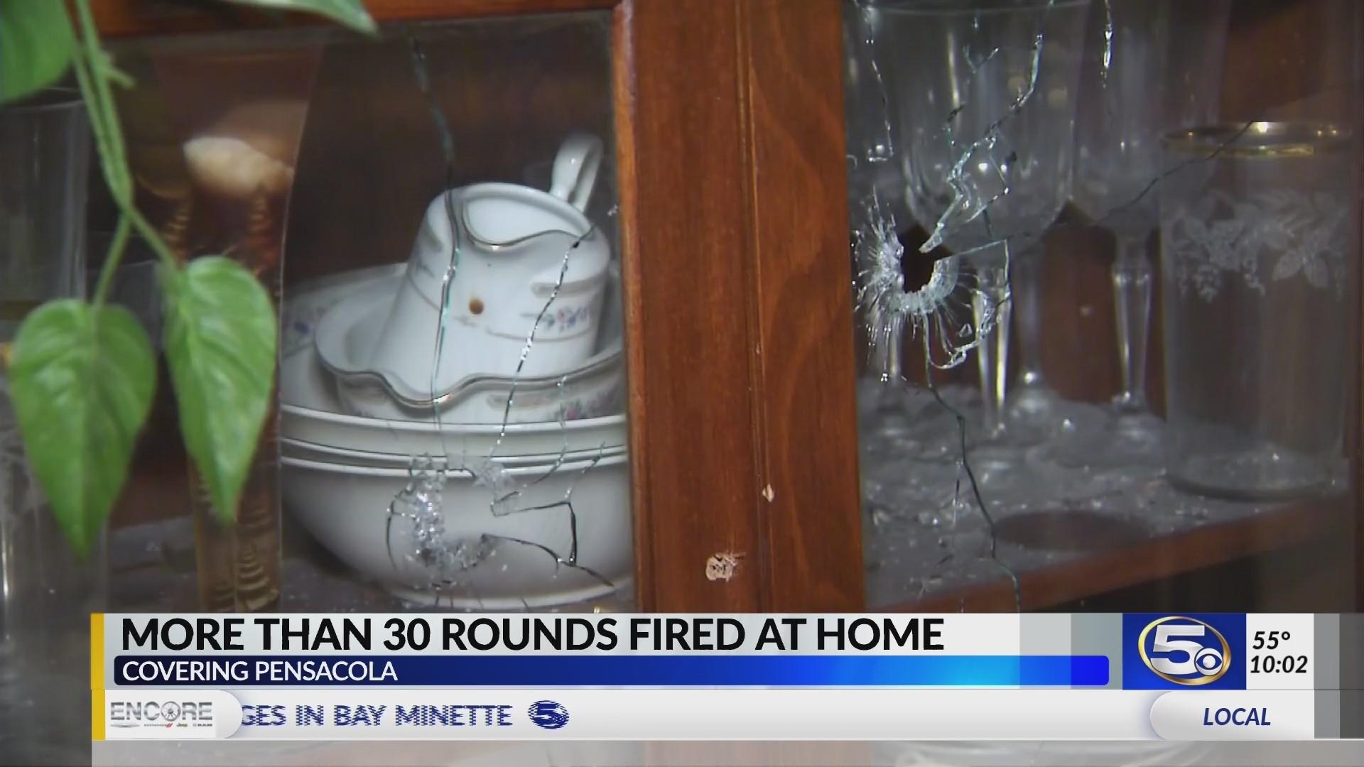 VIDEO: Pensacola police investigate dozens of bullet holes in home