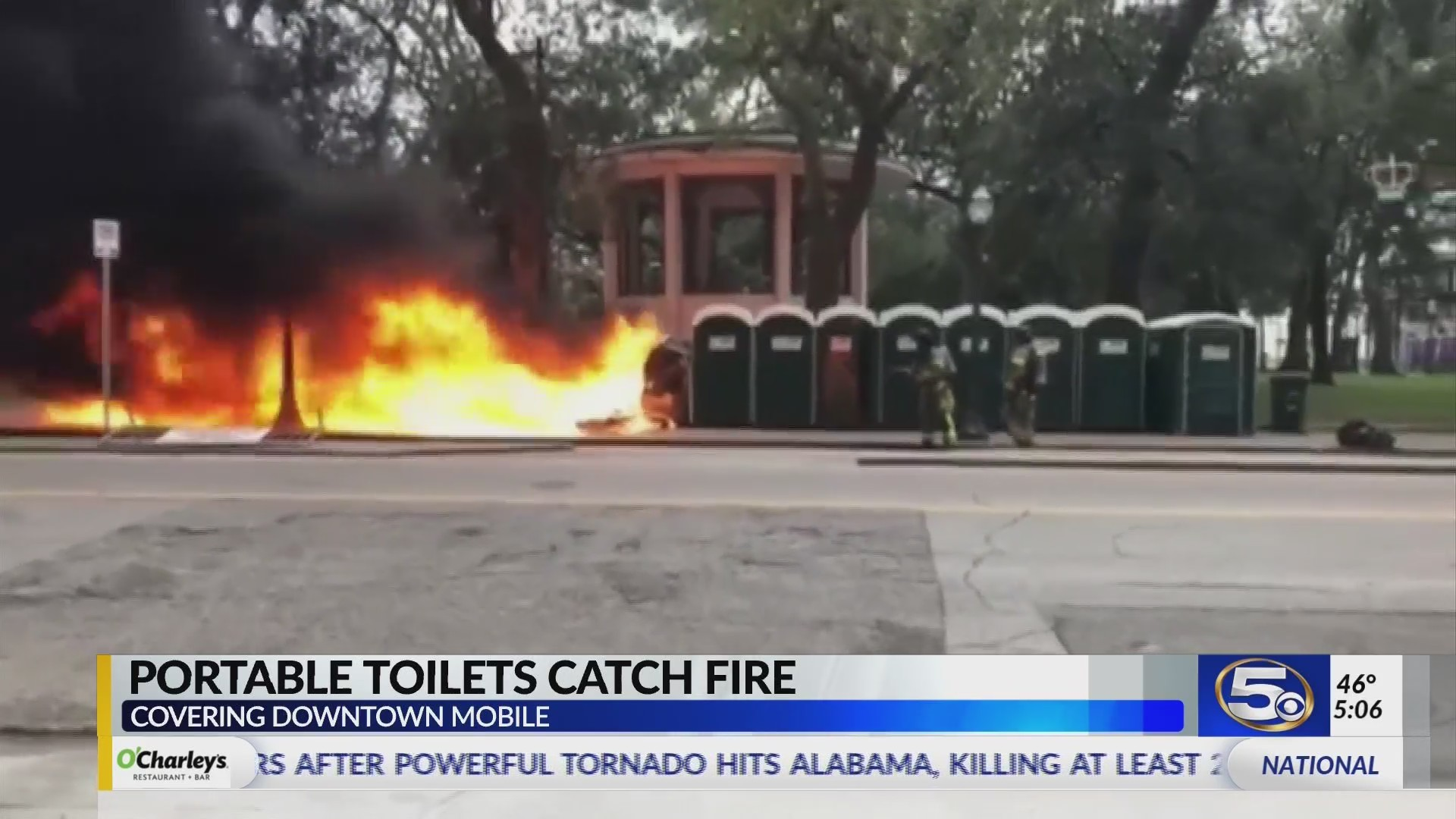 VIDEO: Six portable toilets catch fire in Bienville Square