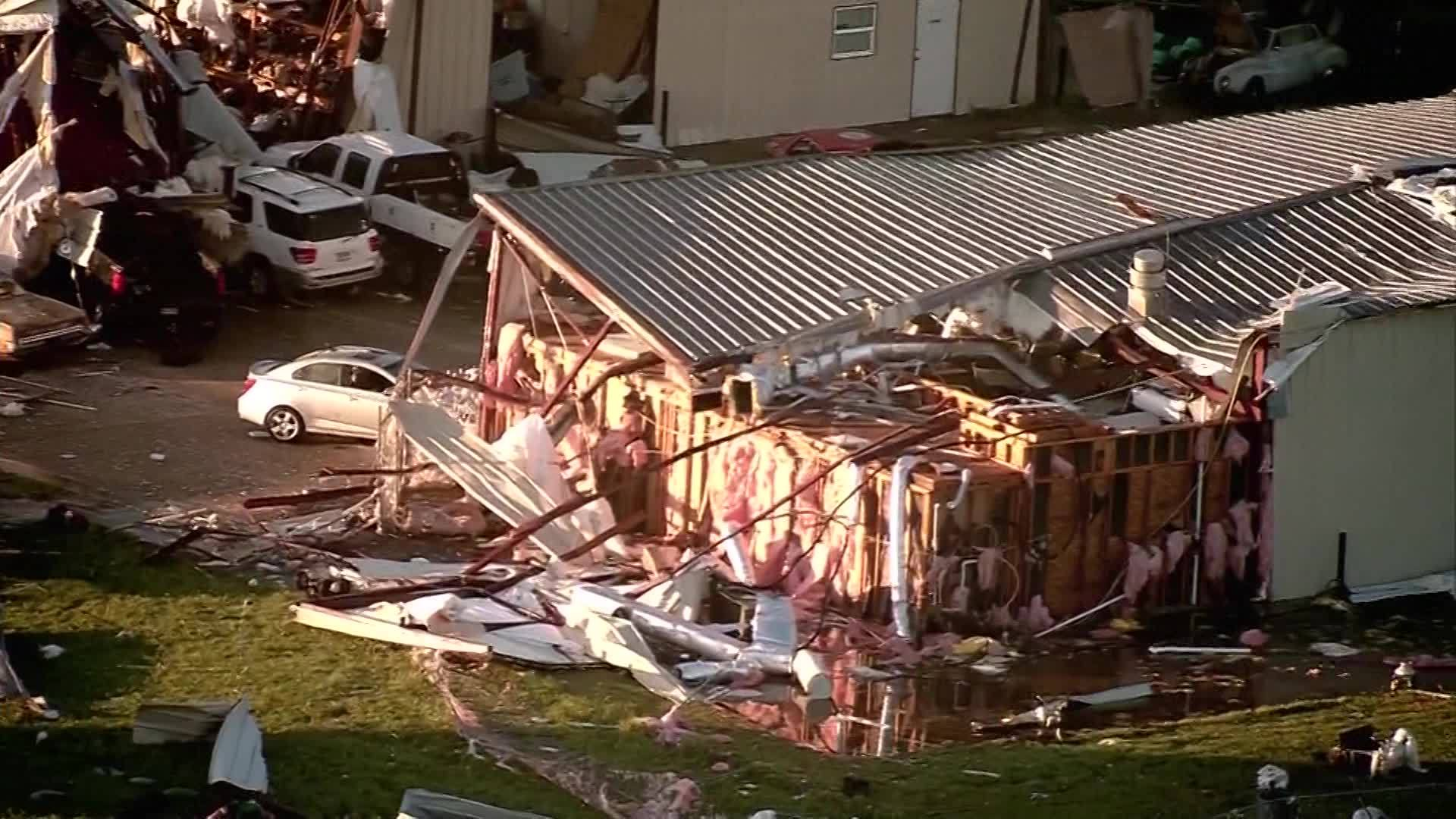 Severe weather damage in Bryan Texas