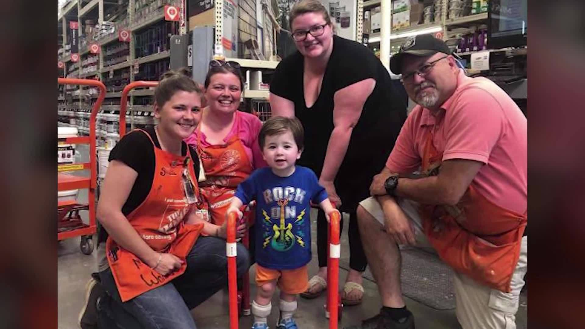 Home Depot employees build 2-year-old boy a walker