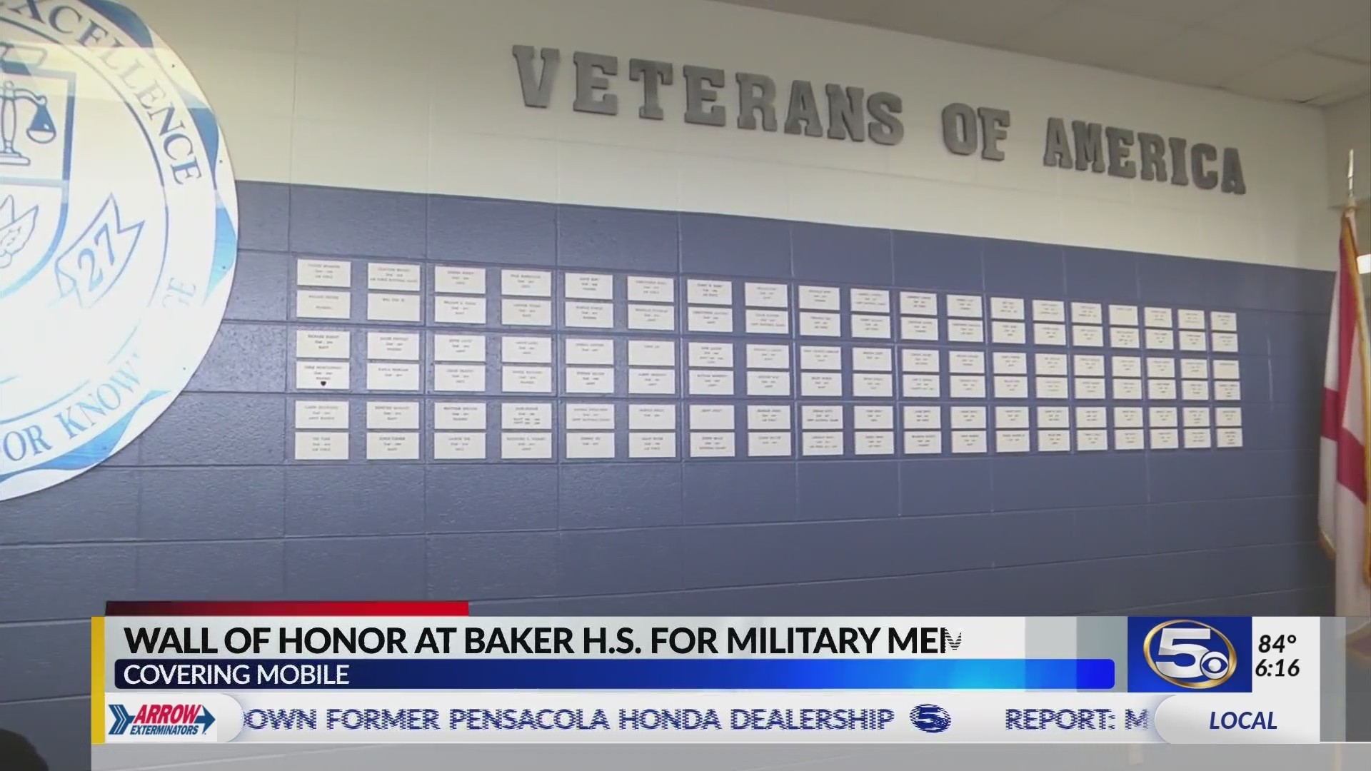 """VIDEO: Baker High School """"Wall of Honor"""" includes tribute to student killed on Christmas Eve"""