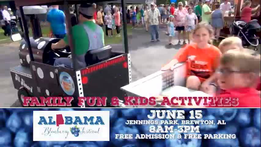 Don't miss the 39th Annual Alabama Blueberry Festival on Saturday, June 15 from 8 am to 3 pm Jennings Park in Brewton, Alabama