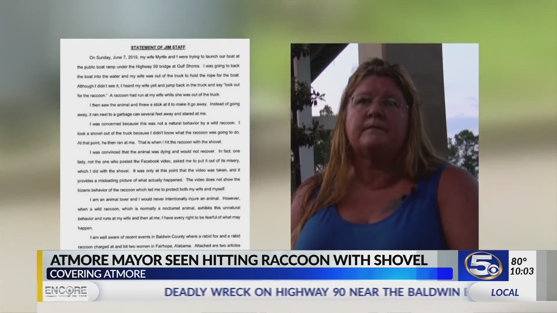 Raccoon beating: Video shows Atmore mayor hitting it with a shovel follow up