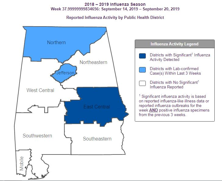 Significant number of flu cases reported in parts of Alabama
