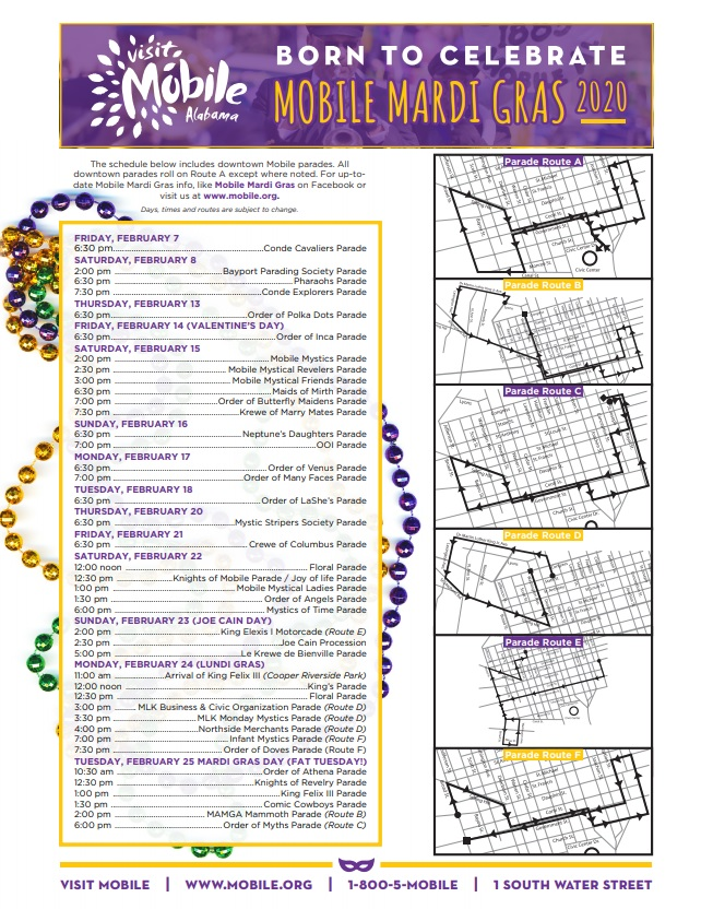 Image result for mobile mardi gras schedule for 2020