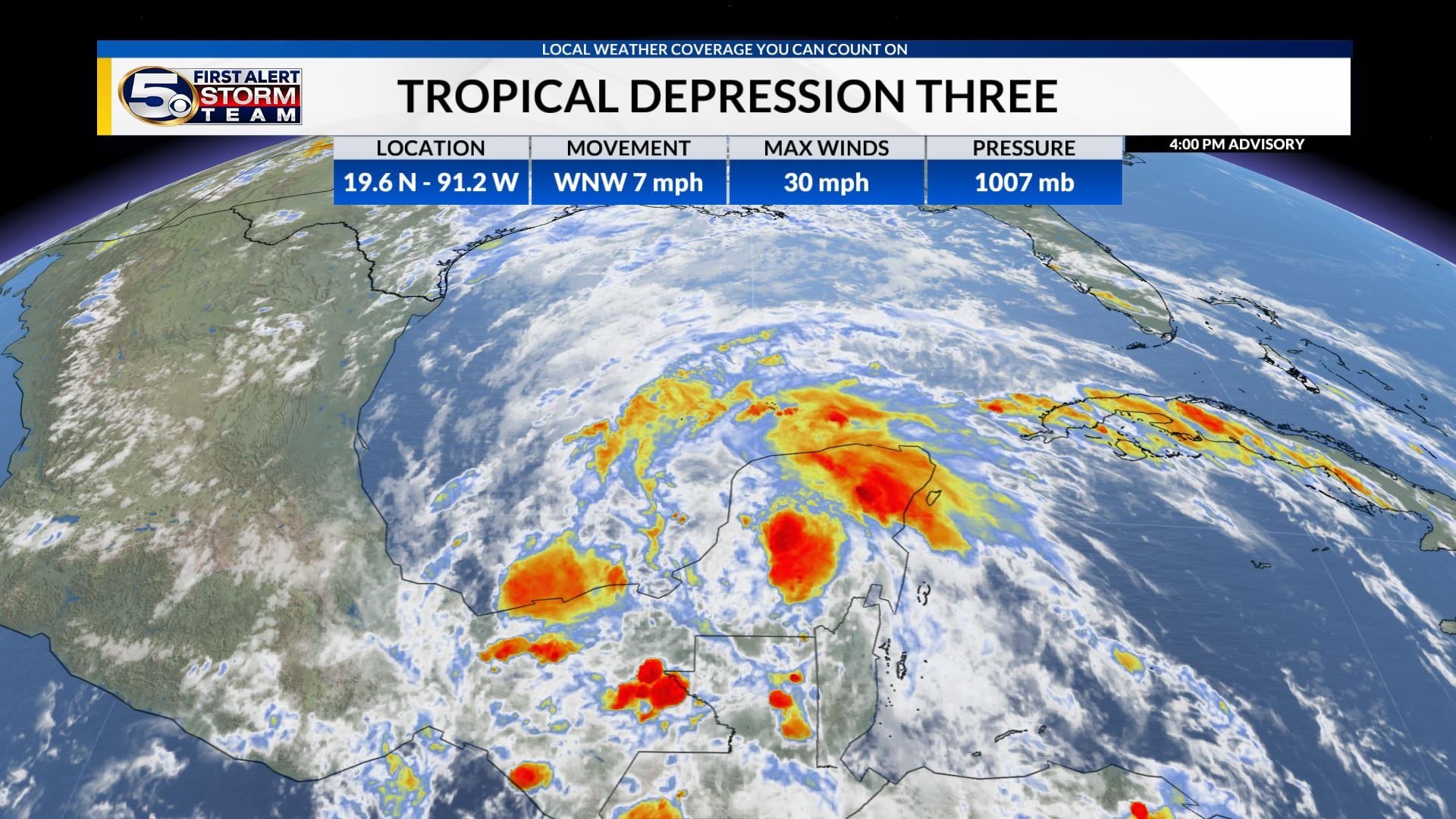 Tropical Depression Three forms in the Gulf of Mexico, Likely to become Cristobal