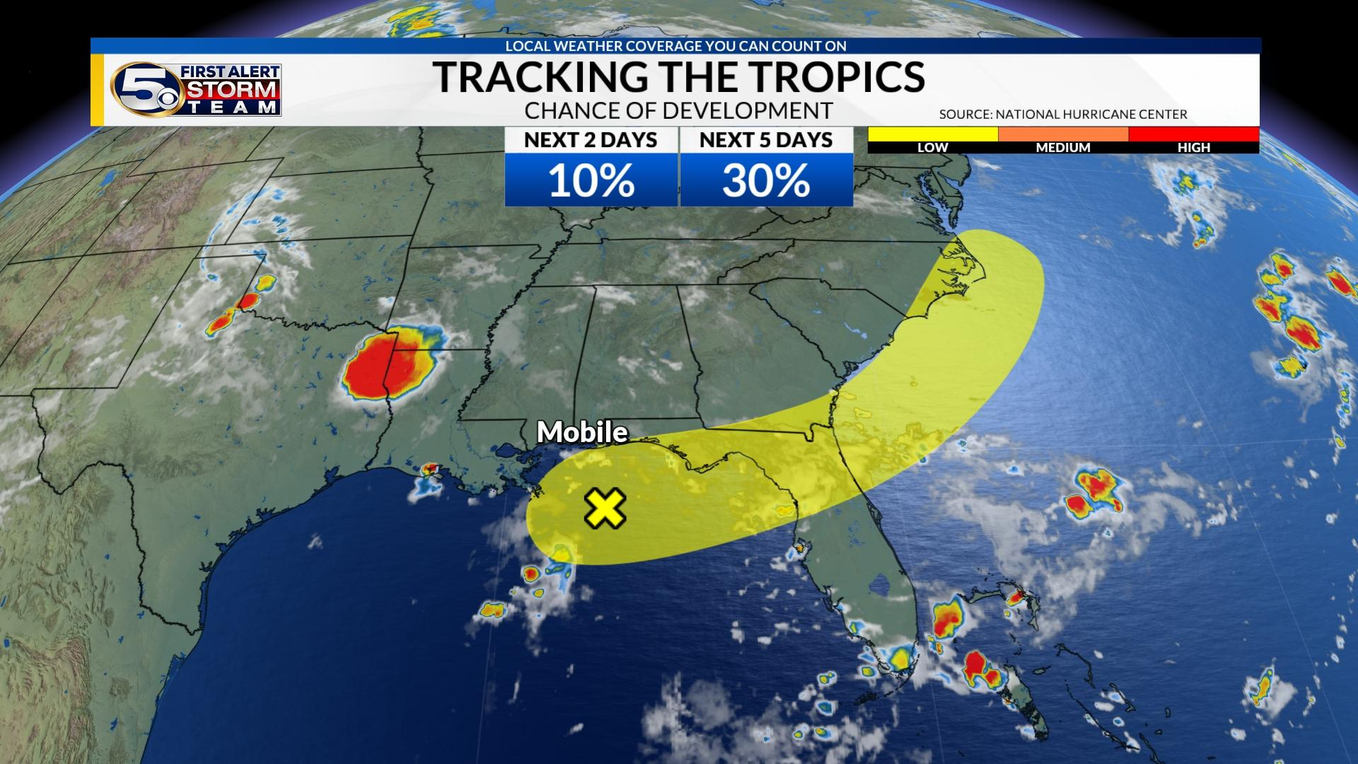 Tracking The Tropics An Area Of Low Pressure Developing In Gulf Of Mexico Wkrg News 5
