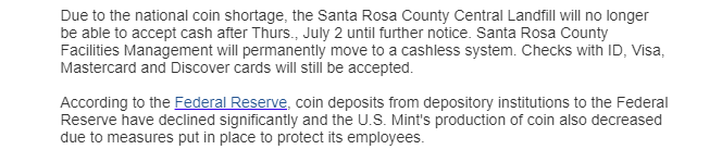 Coin shortage leads to cashless system