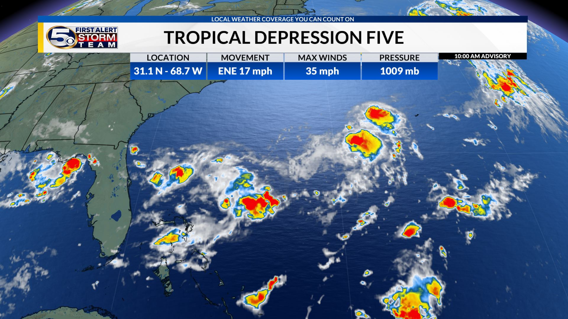 Tropical Depression Five forms in the Western Atlantic, Expected to become Edouard