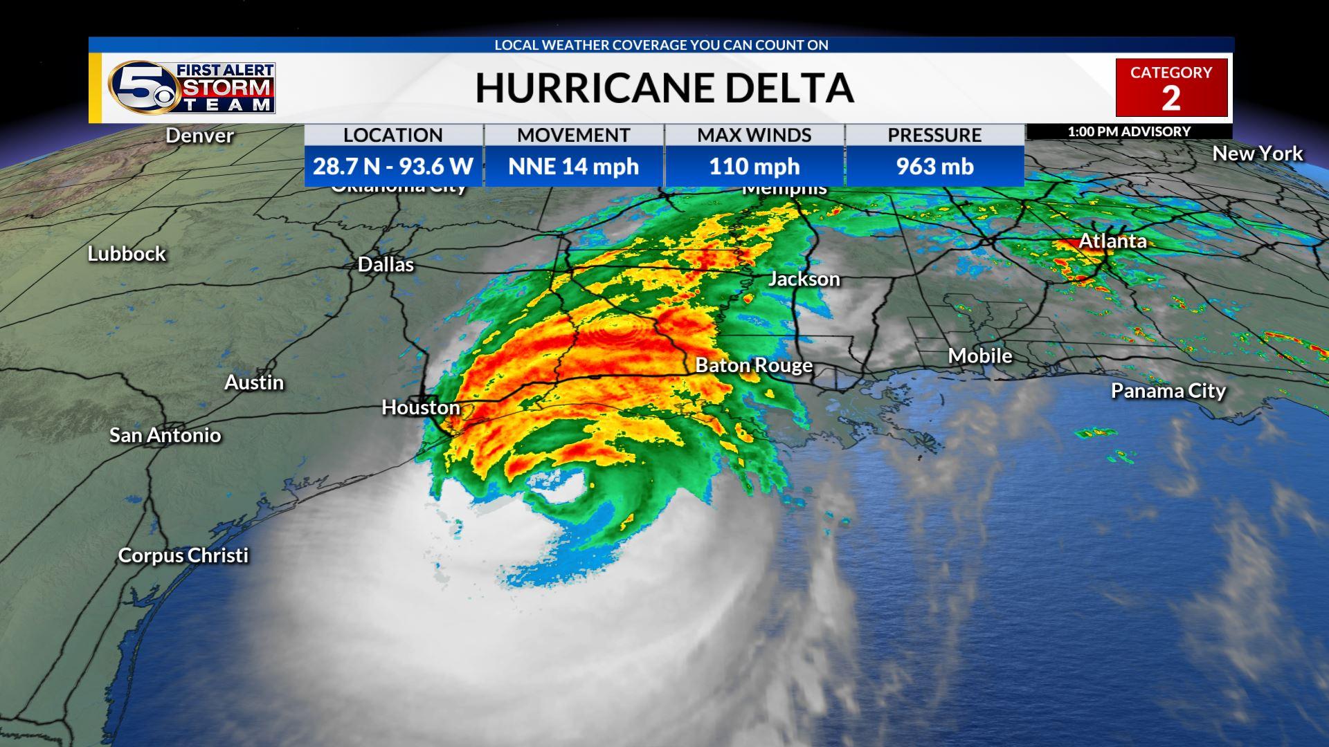 Hurricane Delta Approaching Southwest Louisiana