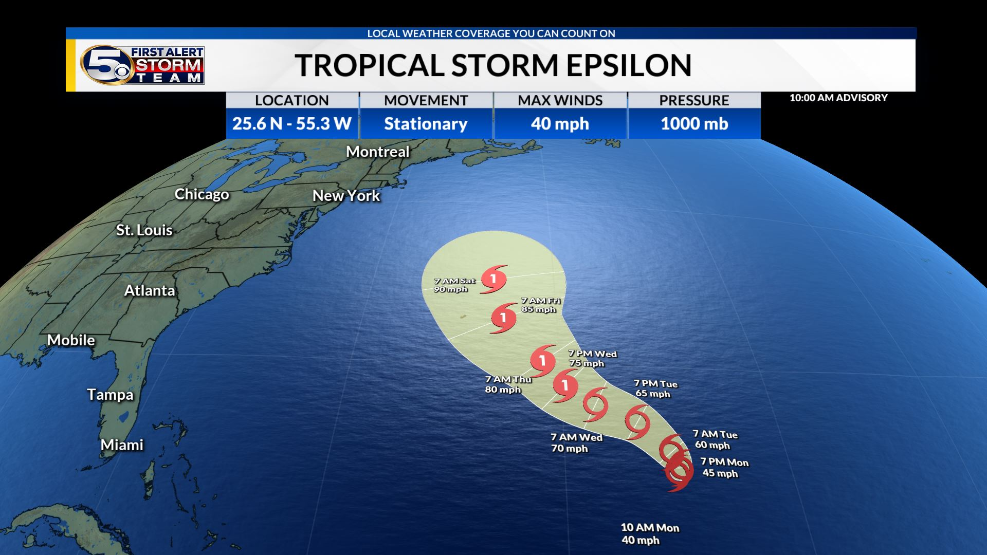 Tropical Depression 27 Becomes Tropical Storm Epsilon