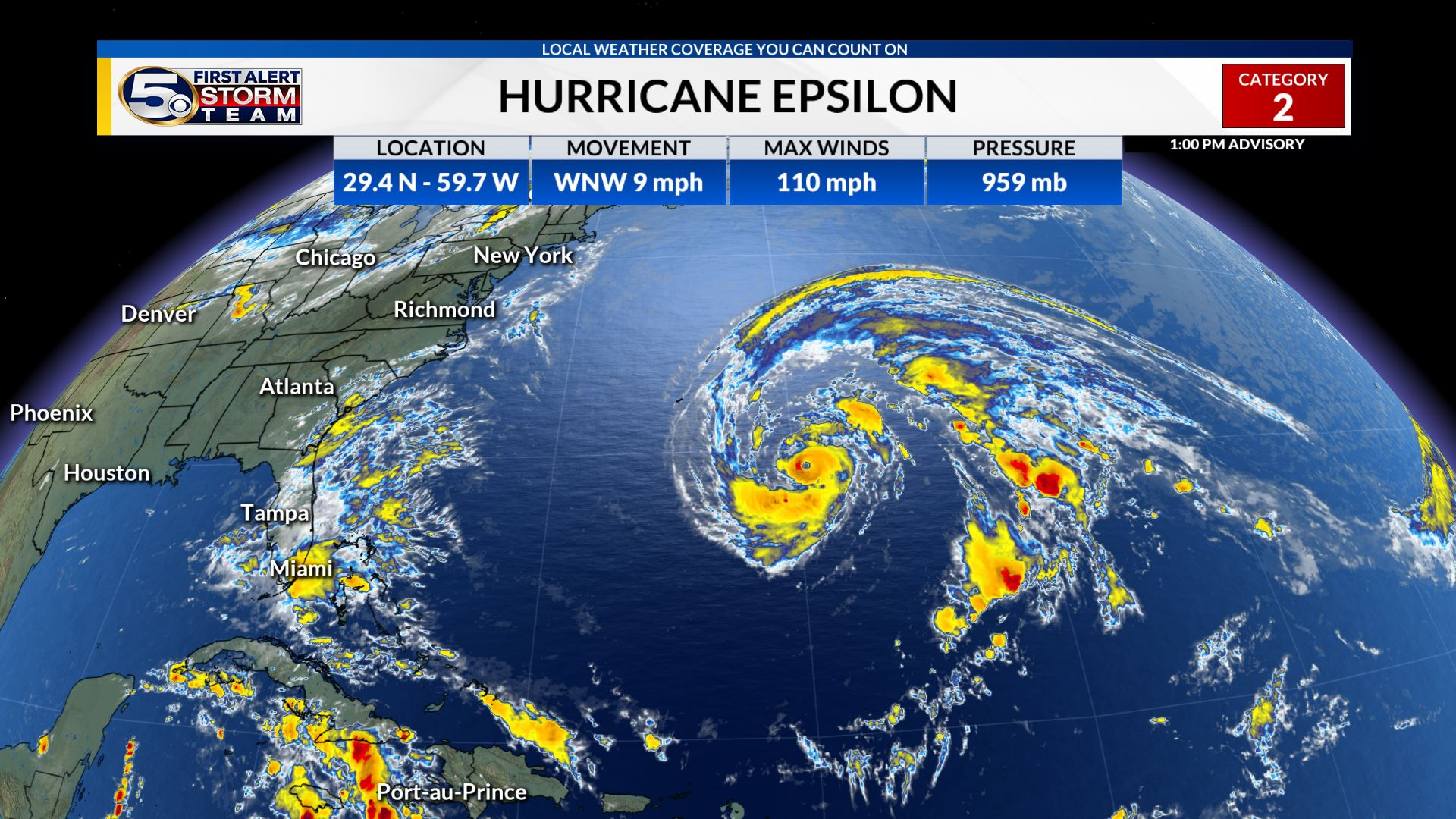 Epsilon Strengthening, Will Pass Close to Bermuda Later this Week