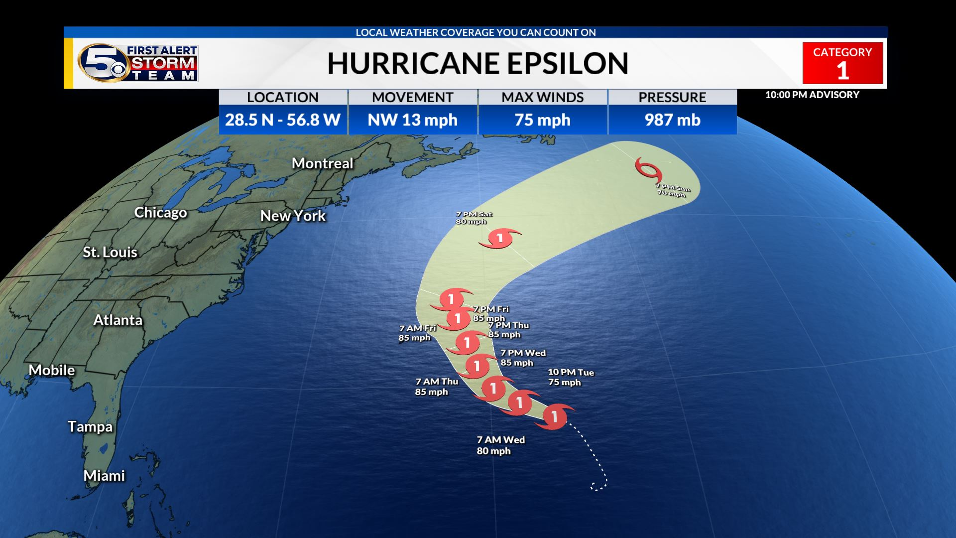 Epsilon becomes a hurricane, Passing close to Bermuda later this week