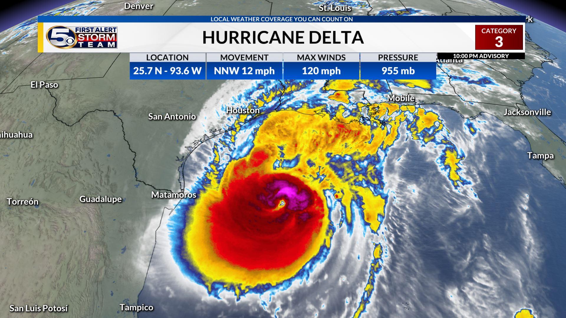 Major Hurricane Delta Forecast to Make Landfall Friday