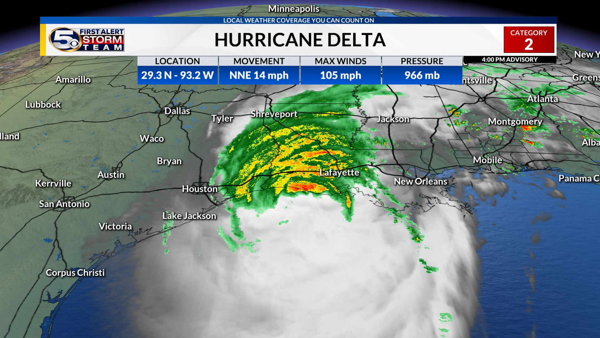 Hurricane Delta Hours Away from Landfall