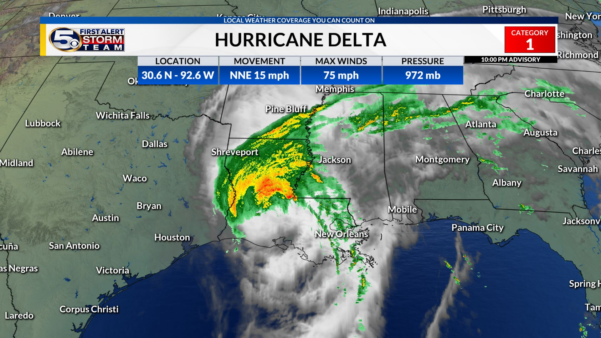 Delta Weakening as it Moves Inland, Heavy rain and strong winds continue overnight
