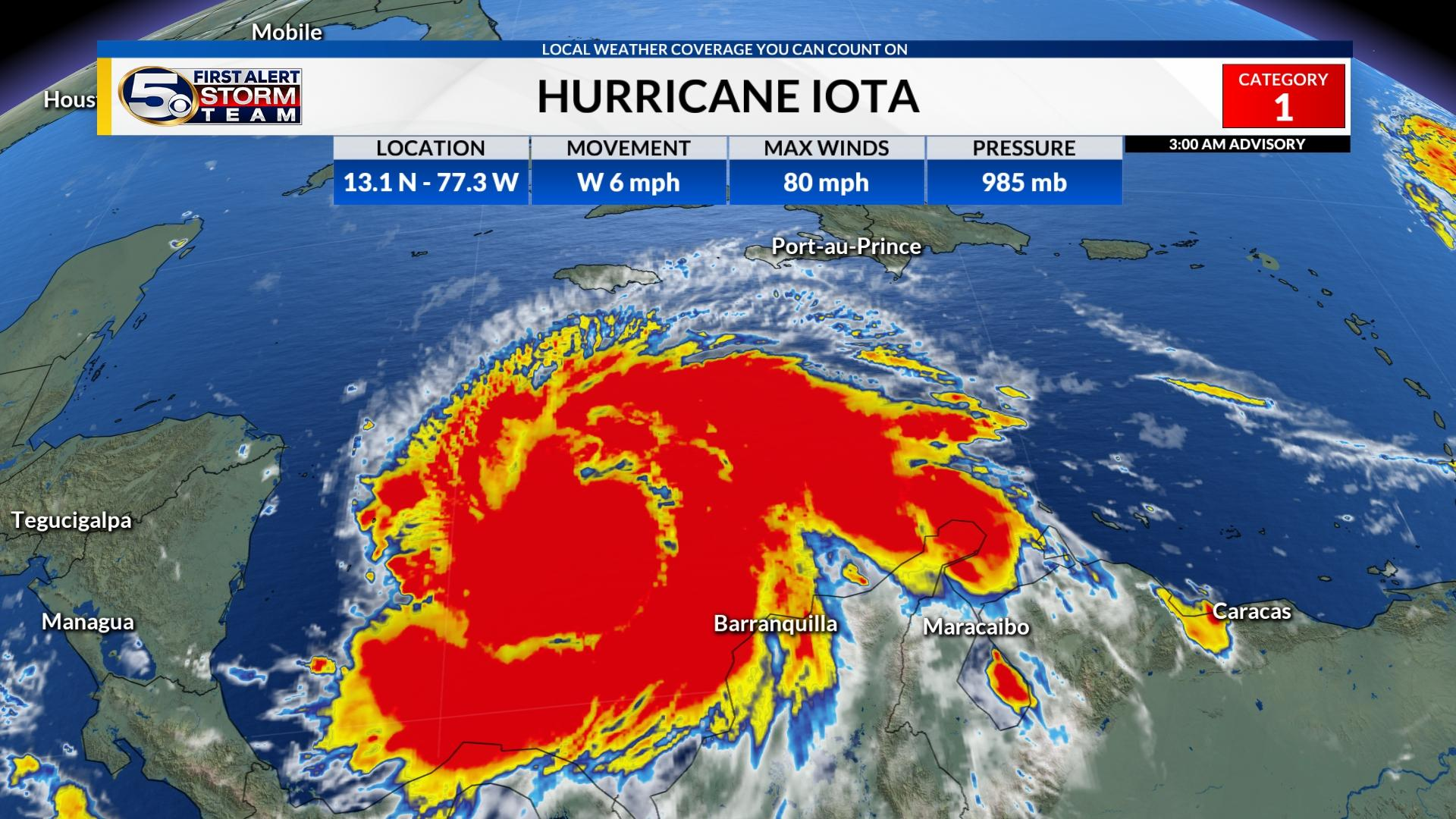Iota becomes a hurricane as it heads towards Central America, expected to intensify further