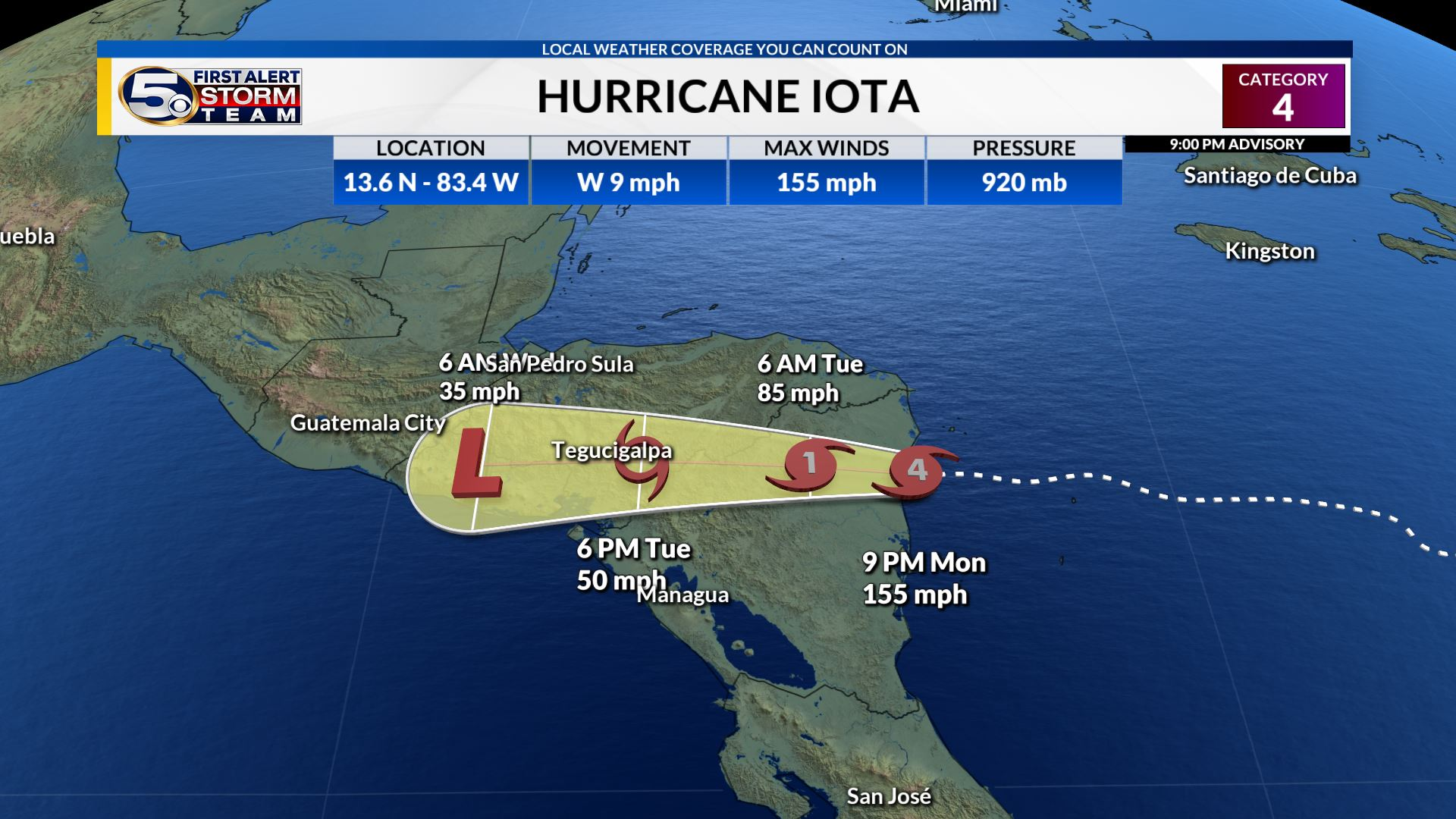 Hurricane Iota to Make Landfall Tonight in Nicaragua, the Second Major Hurricane in Two Weeks