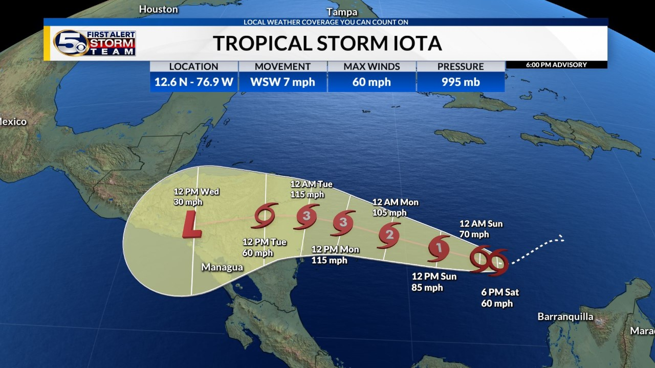 Tropical Storm Iota Strengthens,  Forecast to Become a Major Hurricane