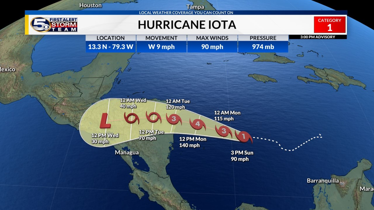 Iota now a category 2 hurricane
