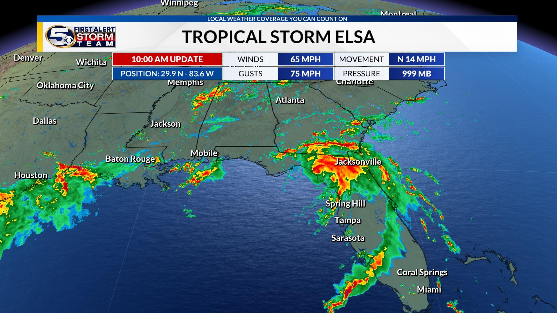 ELSA'S LATEST TRACK: Elsa making landfall along the Big Bend of Florida