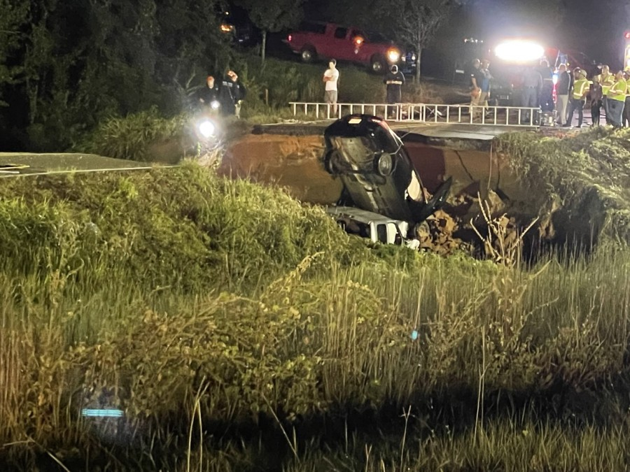 Highway 26 near Lucedale where the road collapsed, killing two people and injuring 10 others