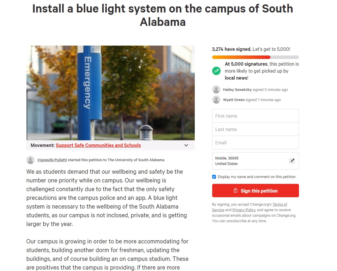University of South Alabama students asking for changes to campus security