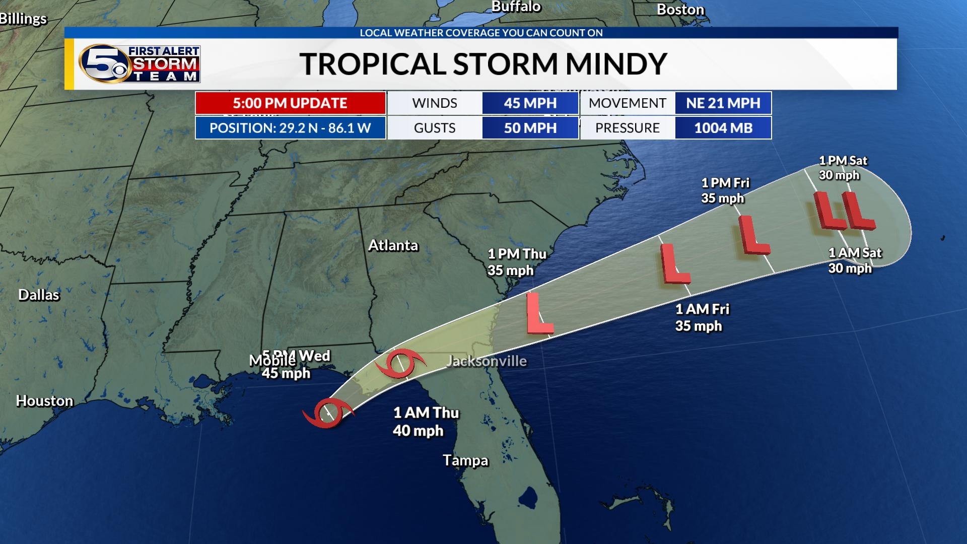 Tropical Storm Mindy forms off the coast of the Florida Panhandle